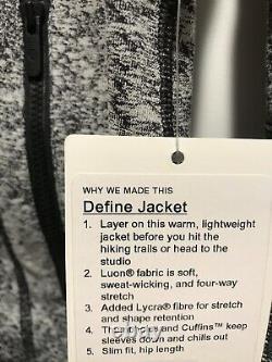 LULULEMON DEFINE JACKET LUON SPRAY JAQUARD Black White Size 12 NWT