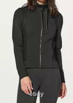 LULULEMON Size 4 Hot Mesh Jacket Black Zip Up Stretch Mesh Define Shape Run NWT