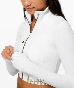 Lulu Nwt Define Jacket Cropped Gold White 4usa Free Usps First Class Ship