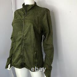 Lululemon DEFINE Jacket Nulux Wash Ice Wash Moss Green Zip Front Size 14 NWT