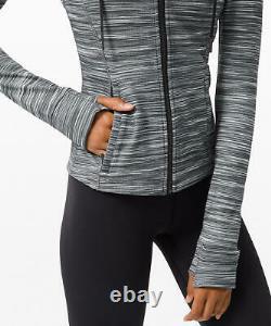 Lululemon Hooded Define Jacket Nulu Fabric Heathered Black White Size 10 12 NWT