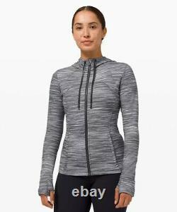 Lululemon Hooded Define Jacket Nulu Heathered Black & White Size 8 LW4BF8S