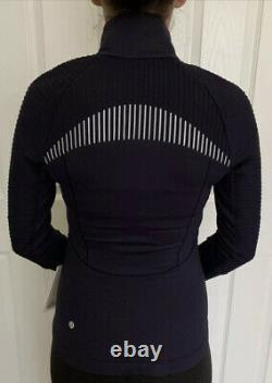 Lululemon Size 4 Chill Going Strong Jacket Blue MDNI Fleece Define Reflect Run