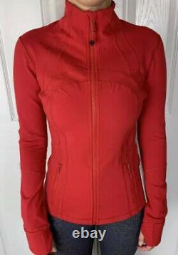 Lululemon Size 6 Define Jacket Luon Red DKRD Zip Up LS Forme Run Speed