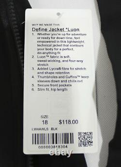 Lululemon Women's Define Zip Slim Fit Breathable Jacket JQ2 Black Size US18 NWT