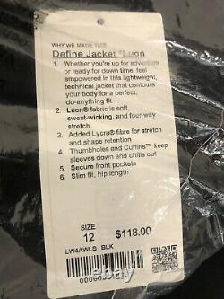 Lululemon Womens Define Jacket Size 12 Black