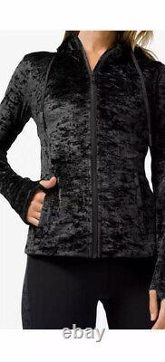 NEW LULULEMON HOODED DEFINE JACKET CRUSHED VELVET SZ 12 Black new with tags NWT