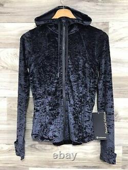 NWT Lululemon Hooded Define Jacket CV Crush Velvet, Sz 4. Black