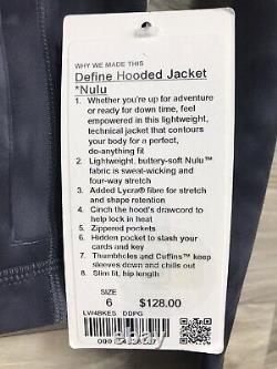 NWT Lululemon Hooded Define Jacket Nulu Sz 6 Diamond Dye Pitch Grey Graphite
