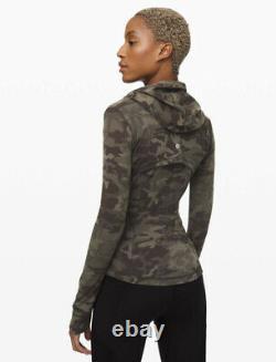 New LULULEMON Hooded Define Jacket Nulu Sz 4 Incognito Camo Multi Gator Green