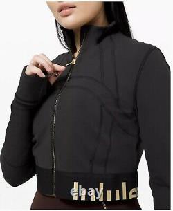 Edition Limitée Lululemon Black Define Veste Croped Goldtaille 10 T.n.-o. Impressionnante