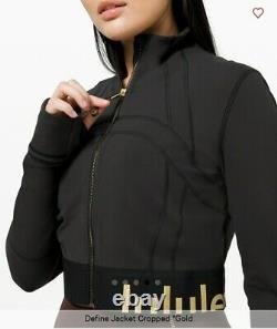 Lululemon Defined Jacket Cropped Black Gold Limited Edition Us10 New Rtp 128