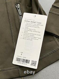 Lululemon Définir Veste Luon Taille 8 Dkov Vert Olive Foncé Nouveau T.nwt 118 $