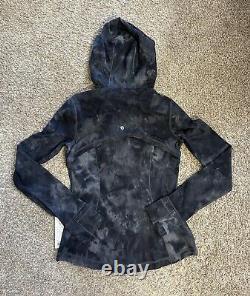 Lululemon Femmes À Capuchon Définir Veste Nulu Black & Gray Fade Taille 8