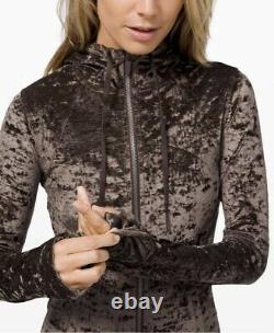 Lululemon Hooded Define Jacket Crushed Velvet In Français Press Brown Sz 8 T.n.-o.