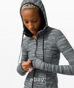 Lululemon Hooded Define Jacket Nulu Fabric Heathered Black White Size 10 12 T.n.-o.