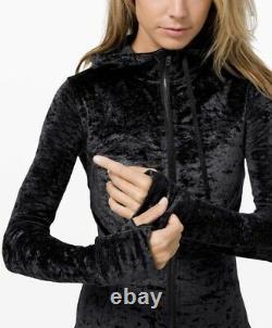 Lululemon Hooded Définir Veste Velours Écrasé En Noir Taille 6 Nouveau Avec Des Étiquettes