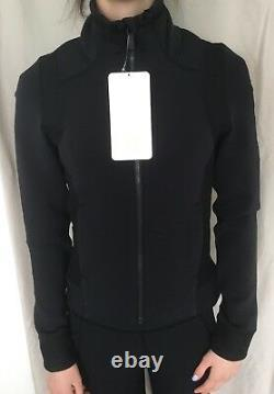 Lululemon Size 4 Hot Mesh Jacket Black Zip Up Stretch Mesh Définir Shape Run T.n.-o.