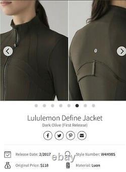 Lulullemon Définir Veste Uk 12 M/l Us 8 Dark Olive Zip Slimming