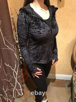 Magnifique! Nwt Lululemon Définir Veste À Capuchon Crushed Velvet Size 10 Black Limite