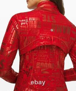 New Lulullemon Defined Jacket 6 20yr Manifeste Foil Dark Red Livraison Gratuite