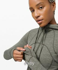 New Women Lululemon Veste À Capuche Nulu Heathered Army Green Taille 8