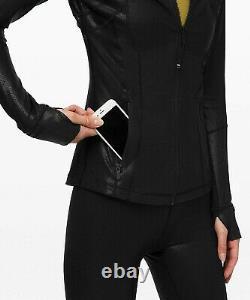 Nouveau Lululemon Définir Jacket Spark 4 6 8 Luminosity Foil Impression Noir Le Bateau Libre