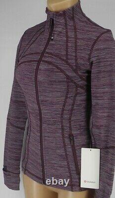 Nouveau Lululemon Définir Veste 12 Edged Stripe Jacquard Blueprint Royal Ruby