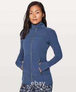 Nouveau Lululemon Soft Nulu Rare Contour Jacket Taille 4 Mineral Blue Full Zip Nwt