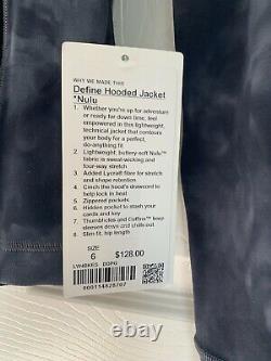 Nwt Lululemon Define Jacket Hooded Diamond Dye Pitch Grey Graphite Grey Size 6