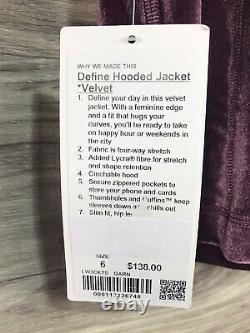 Nwt Lululemon Définir Hooded Jacket Velvet Sz 6 Garn Garnet